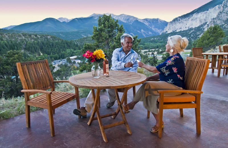 Guest patio at Mt. Princeton Hot Springs Resort.