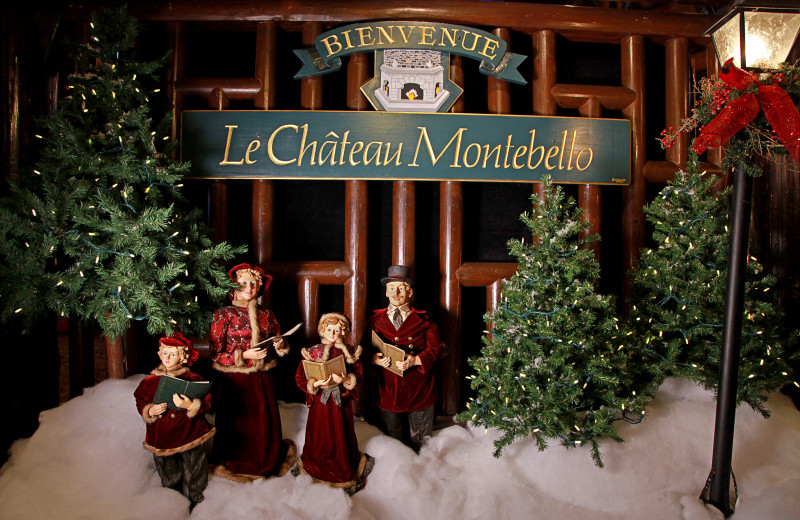 Holiday decorations at Fairmont Le Chateau Montebello.