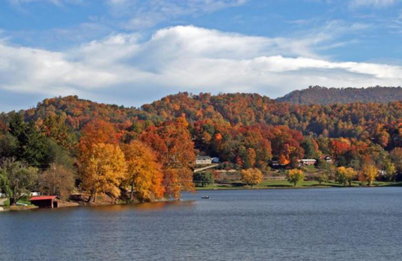 Fall leaves at Terrace Hotel Lake Junaluska.