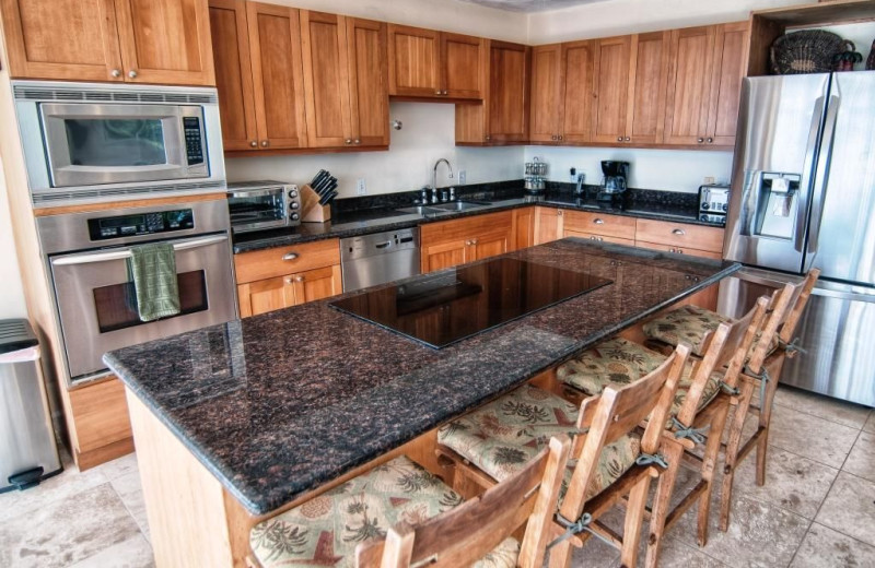 Rental kitchen at Hawaiian Vacation Rentals.