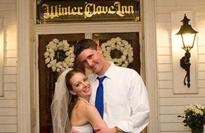 Wedding couple at Winter Clove Inn.