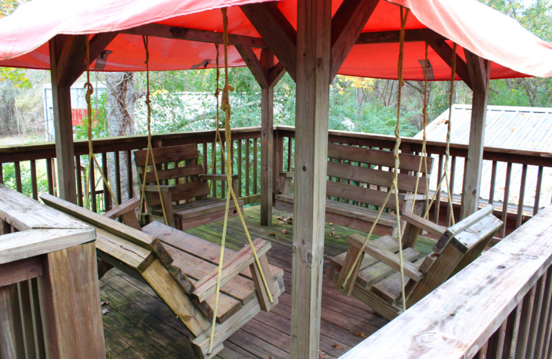 Cabin deck at Berry Creek Cabins.