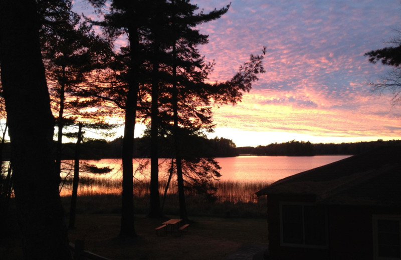 Sunset on the lake at Holiday Acres Resort.