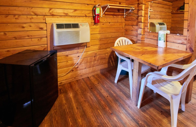 Cabin interior at Yogi Bear's Jellystone Park Warrens.