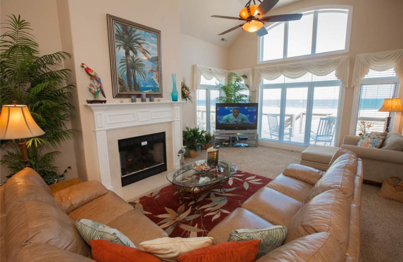 Rental living room at Sandbridge Realty.