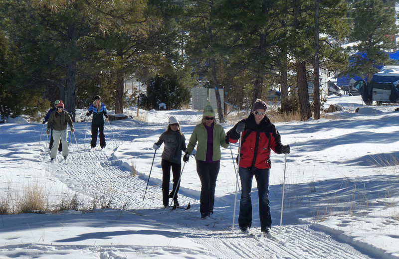 Cross country skiing at Flaming Gorge Lodge.