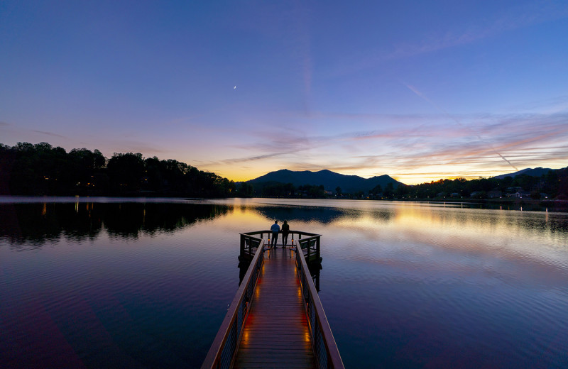 The fishing and meditation pier at Lake Junaluska provides an ideal location for watching spectacular sunsets.