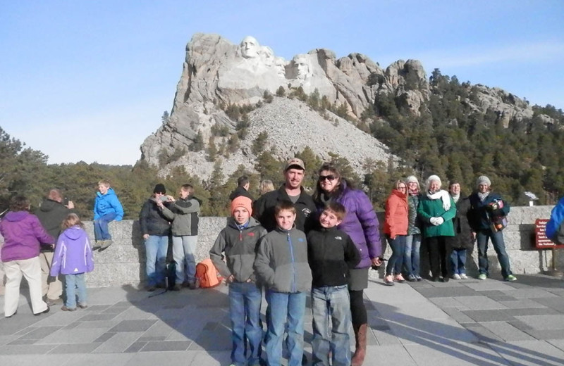 Family at Mount Rushmore near American Pines Cabins.