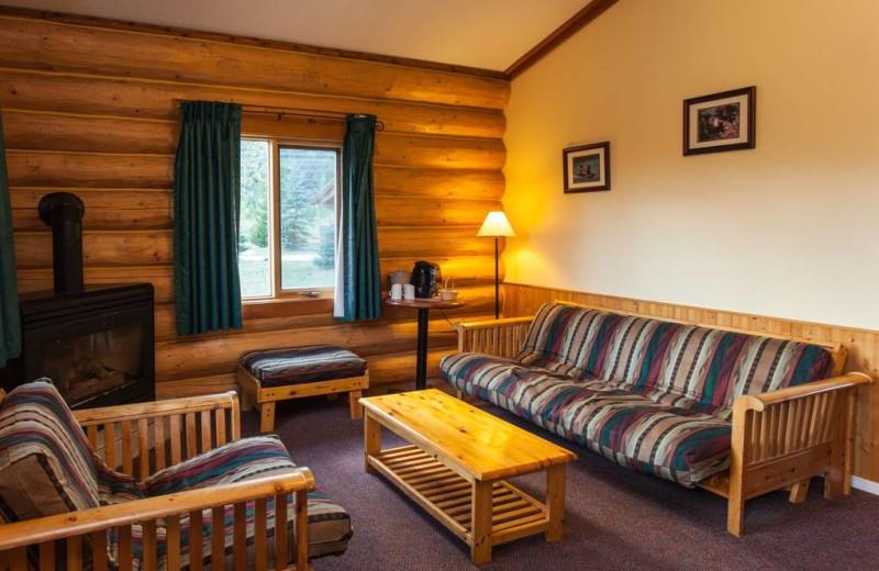 Cabin living room at Glacier House Resort.