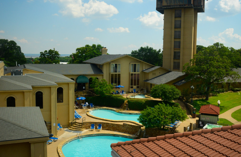 Pools and Tower at Tanglewood Resort and Conference Center.