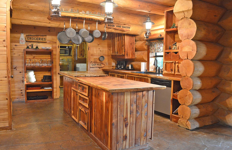Rental kitchen at Log Country Cove.