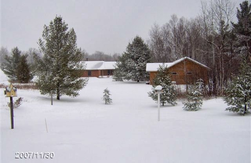 Winter time at Woodside Cottages of Bayfield.