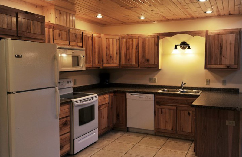 Cabin kitchen at Cedar Valley Resort.