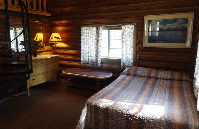 Cabin bedroom at North Shore Lodge & Resort.
