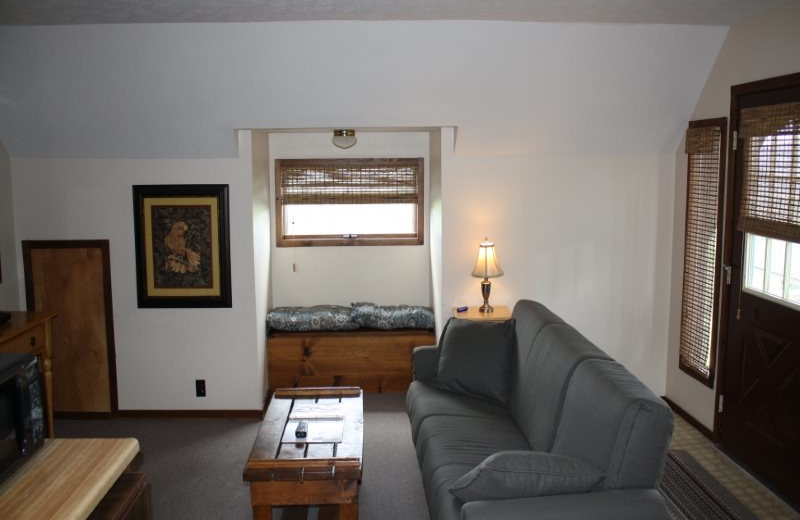 Cabin living room at Arkansas White River Cabins.