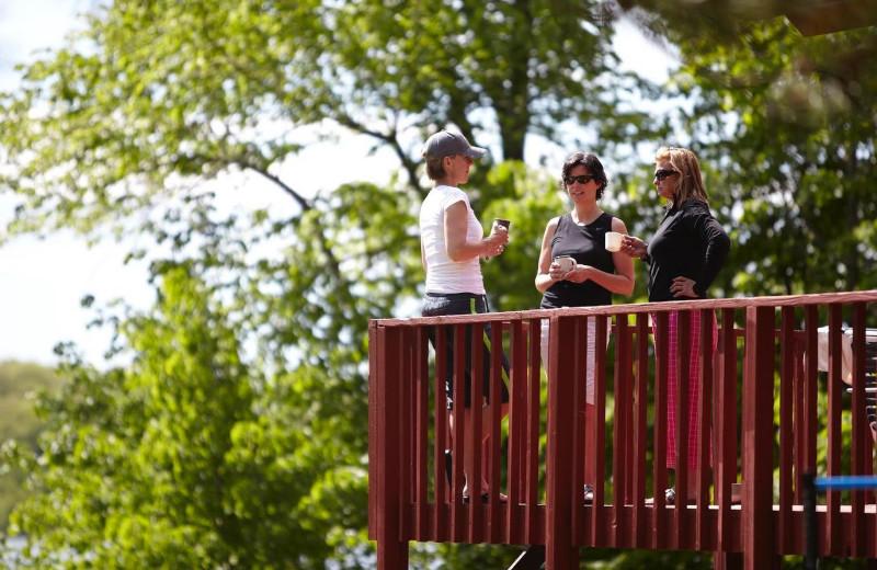 Cabin balcony at Five Lakes Resort.