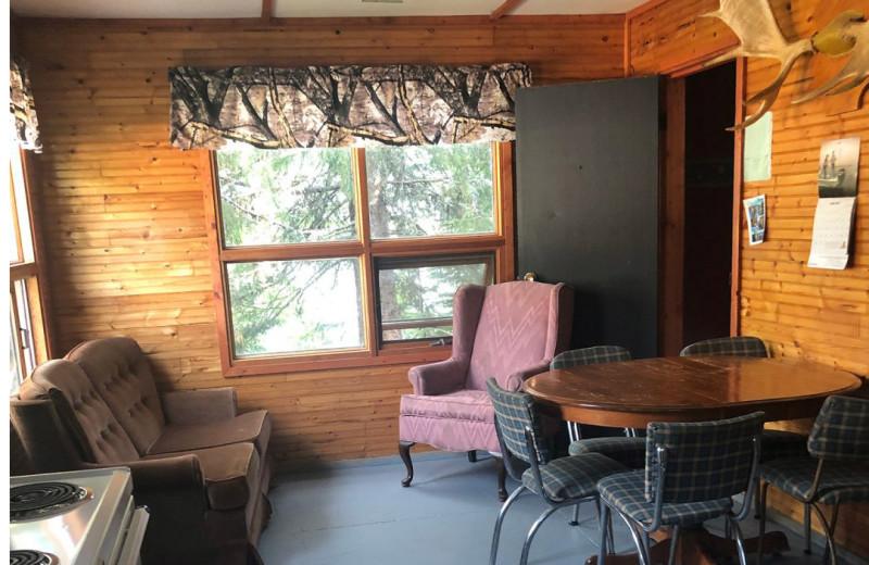Cabin living room at Pakwash Lake Camp.