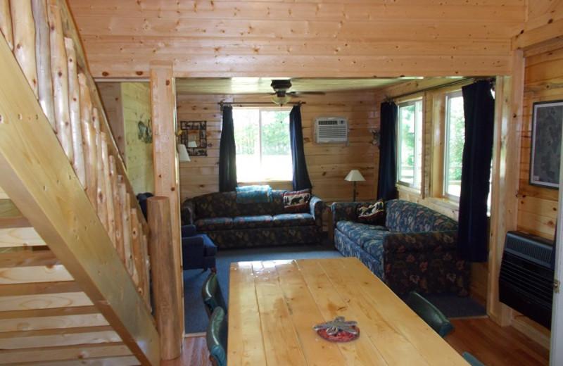 Cabin living room at Cedar Point Resort.