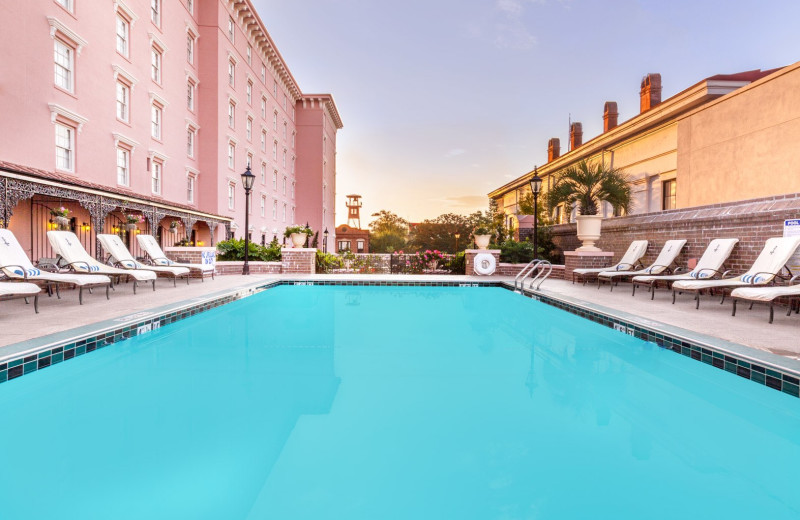 Outdoor pool at The Mills House Wyndham Grand Hotel.