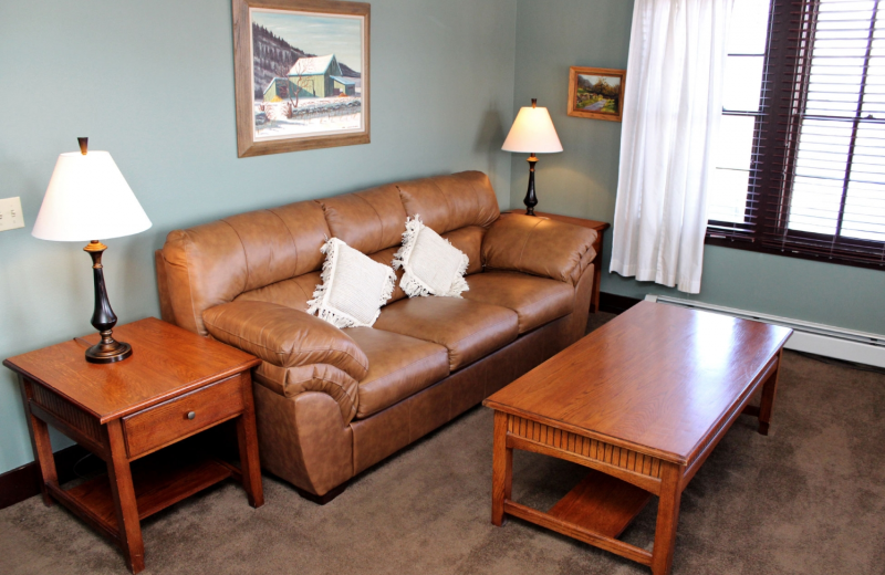 Guest sitting area at Marys Lake Lodge.