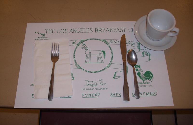 Dining at L A Breakfast Club.