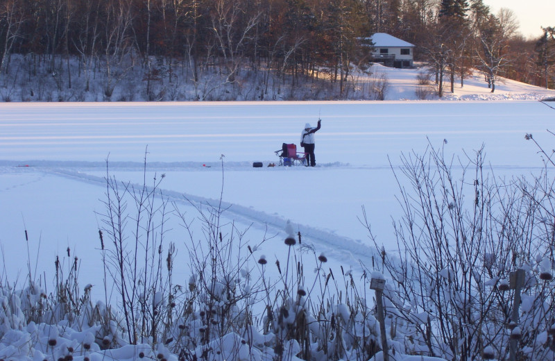 Ice fishing at Shady Hollow Resort and Campground.