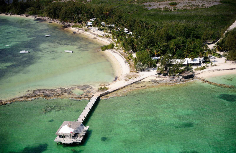 Aerial view of  Small Hope Bay Lodge.