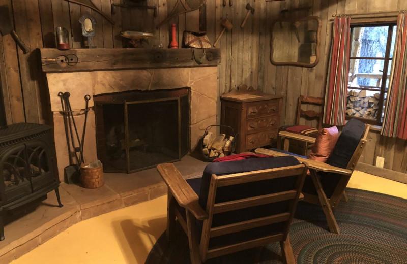 Cabin living room at Tumbling River Ranch.