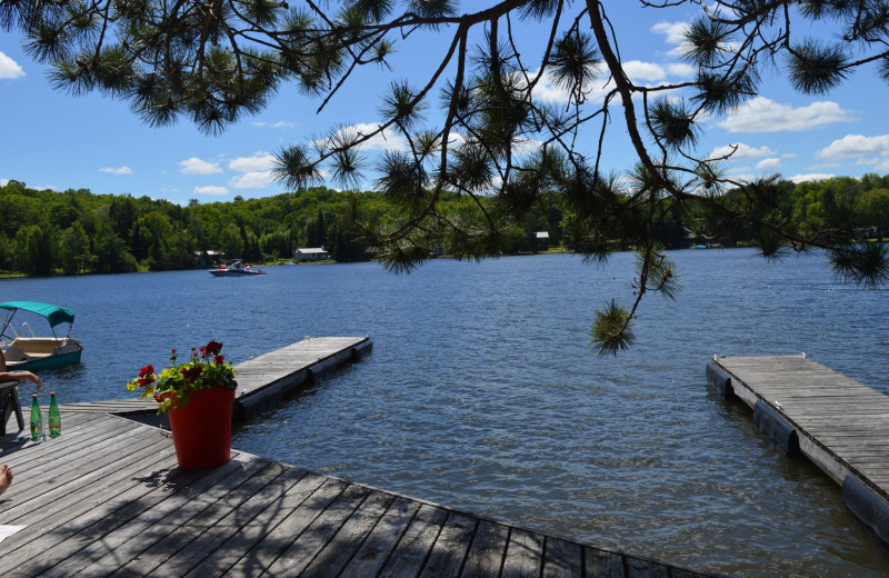 Relaxing on the dock overlooking the lake at Heather Lodge.