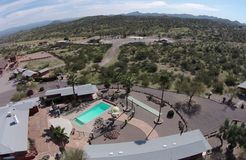 Aerial view of Flying E Dude Ranch.