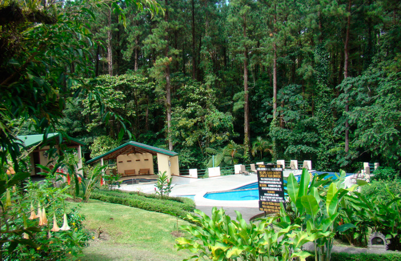 Outdoor pool at Arenal Observatory Lodge.