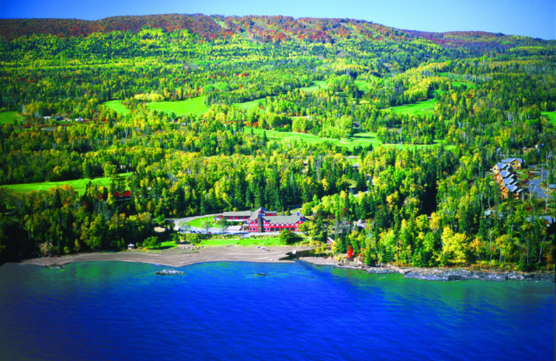 Aerial view of Lutsen Resort on Lake Superior.