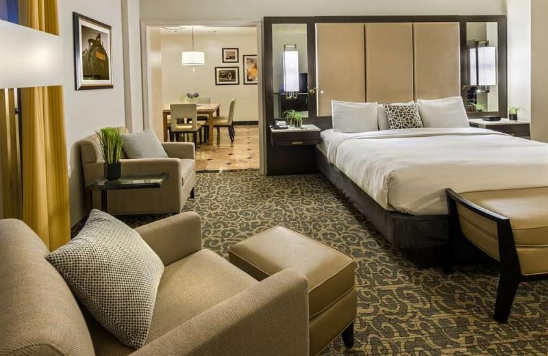 Guest room at Radisson Lackawanna Station Hotel Scranton.