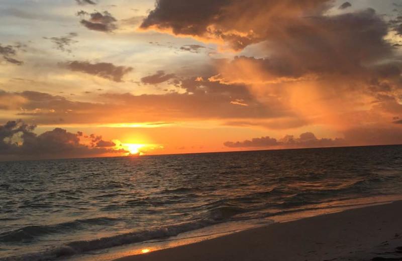 Beach sunset at Alecassandra Vacation Villas.