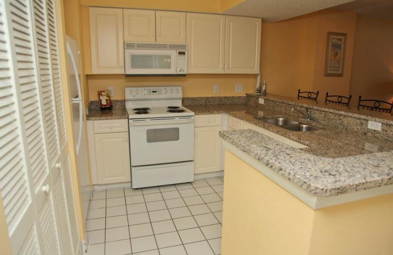 Vacation rental kitchen at Grande Shores Ocean Resort.