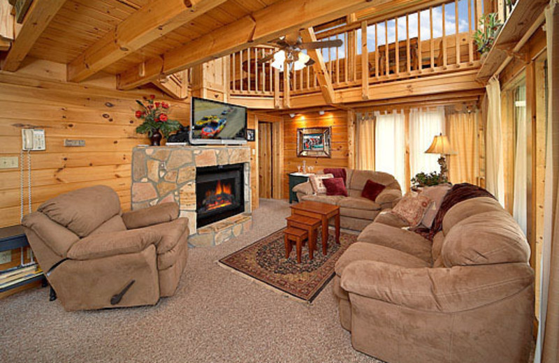 Living area of vacation lodge at American Patriot Getaways, LLC.