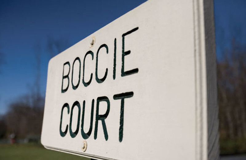 Sign for Boccie Court at Wyndham Vacation Resorts Shawnee Village.