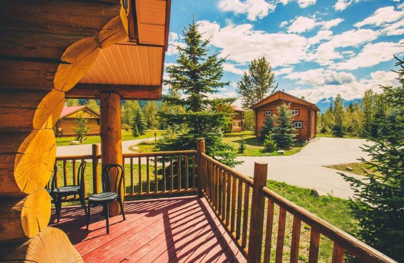 Cabin porch at Glacier House Resort.