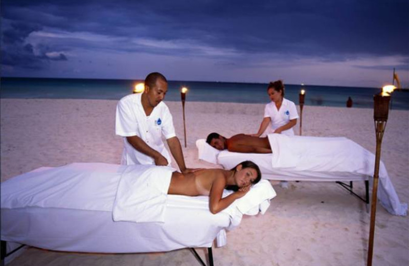 Massage on the beach at Royal Luxury Playa Del Carmen.