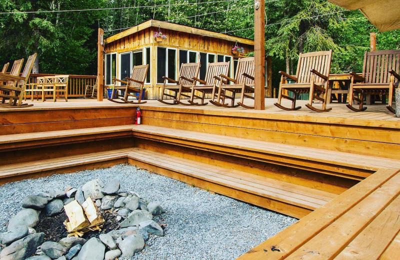 Deck at Kenai Riverside Lodge.