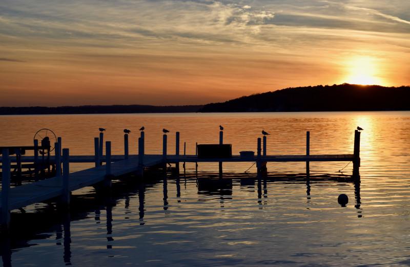 Dock at Harbor Shores on Lake Geneva.