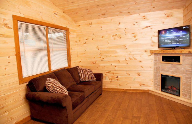 Two Bedroom Cabin living room at Shawnee Forest Cabins.