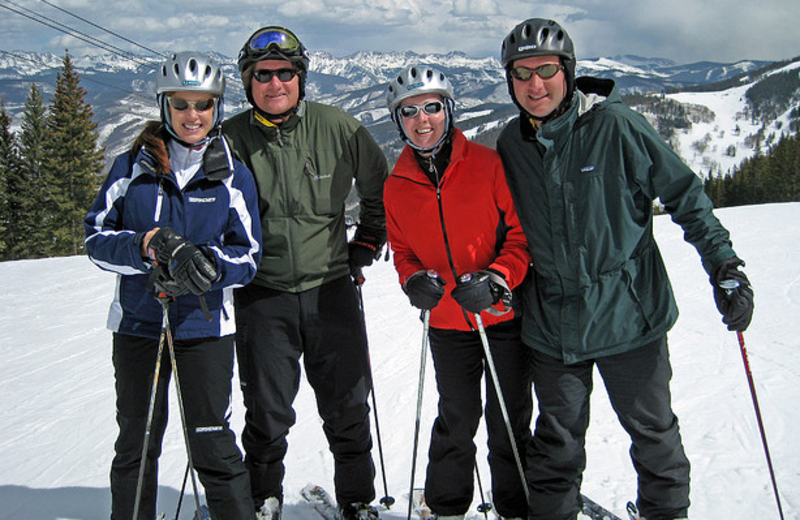 Skiing buddies at The Borders Lodge.