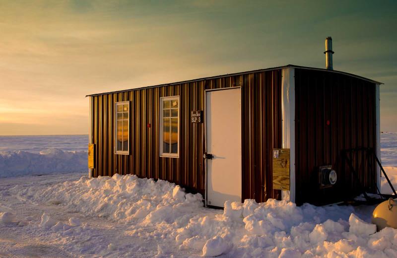 Ice fishing house at River Bend's Resort & Walleye Inn.