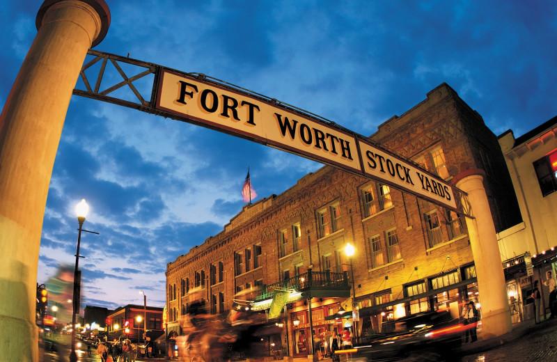 Fort Worth Stock Yard near Ambassador Hotel & Suites.