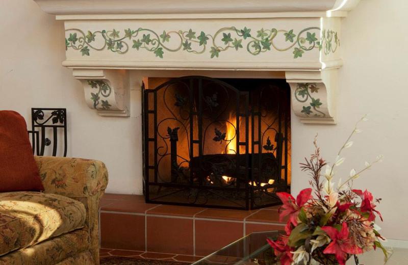 Lobby Fireplace at Pepper Tree Inn