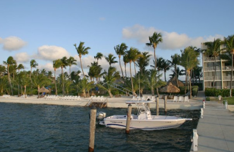 The beach and dock at Hampton Inn & Suites Islamorada.