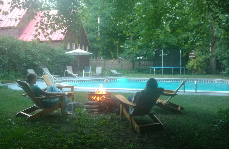 Outdoor pool at Geyser Lodge.