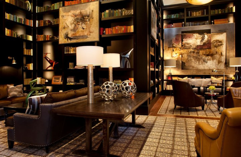 The library at The Sebastian - Vail is a perfect space to read, relax, join in conversation or enjoy a cocktail before dinner.