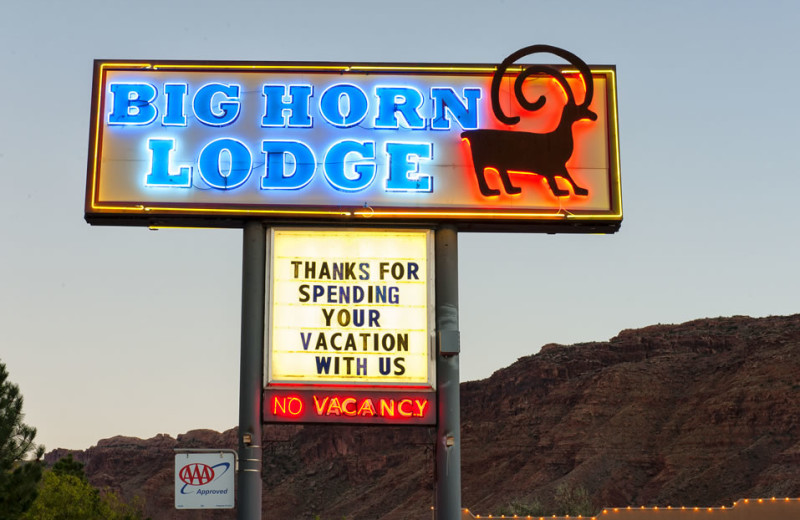 Welcome sign at Big Horn Lodge.